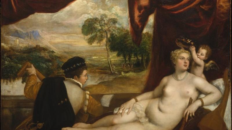 Venere e il suonatore di liuto, 1565-70 Tiziano (Pieve di Cadore ca. 1485/90? – Venezia 1576) (Munsey Fund, 1936 – Museum of Modern Art)